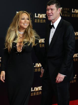 James Packer and Mariah Carey on the red carpet at the Studio City Grand Opening, Macau. Picture: Jonathan Ng