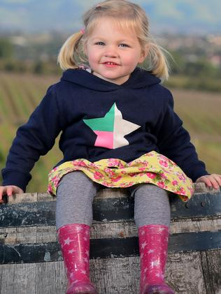 Little Elsiee checks out a McLaren Vale winery. Picture: Tom Huntley.