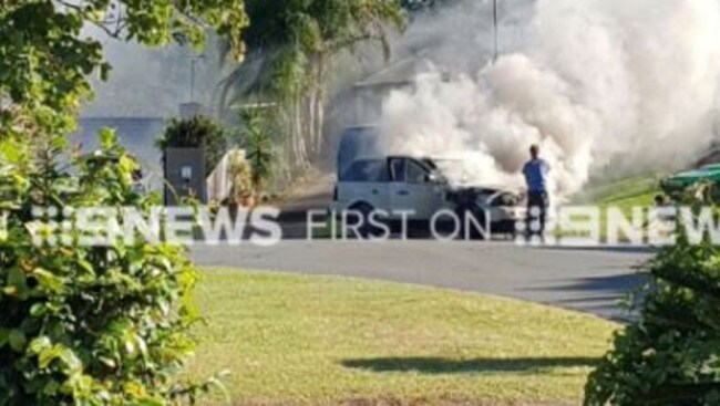 Fire fighters were called to a Range Rover on fire at Nerang. Pictrure: Nine News