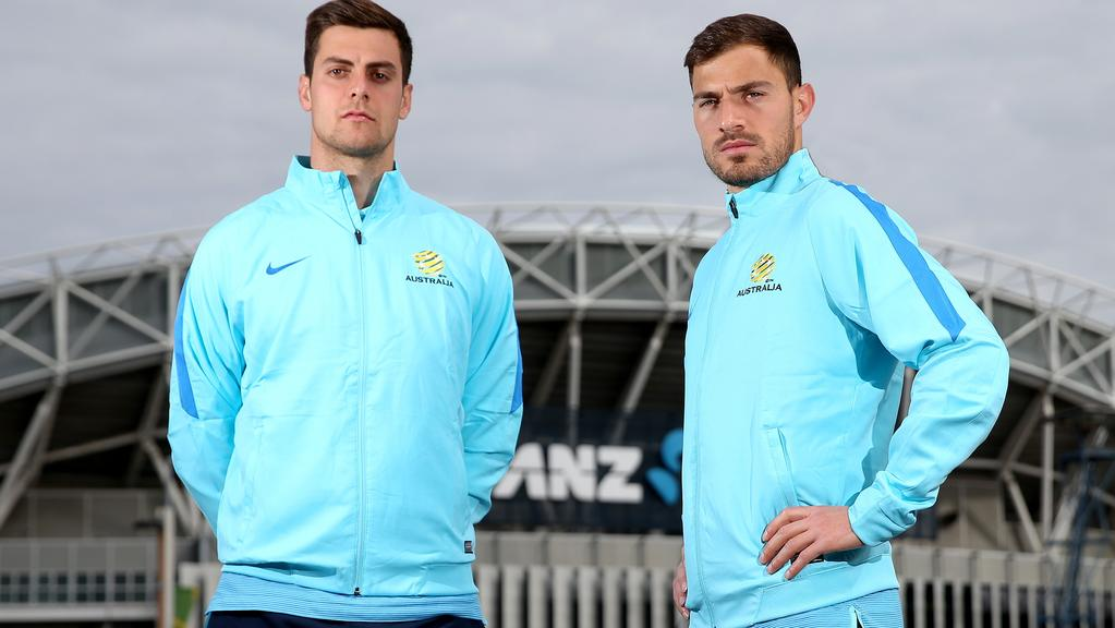 Good to be back — Socceroos Tomi Juric and James Troisi outside of ANZ Stadium.