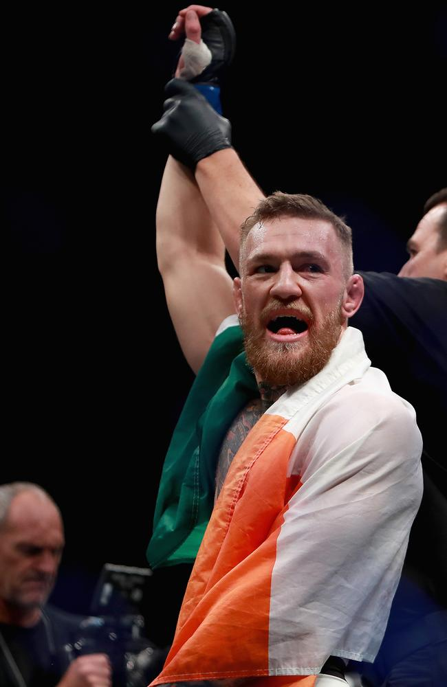 Conor McGregor celebrates his KO victory over Eddie Alvarez.