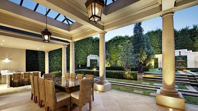 OUTDOOR entertaining areas in Hopetoun Rd, Toorak, Victoria. Picture: RP Data