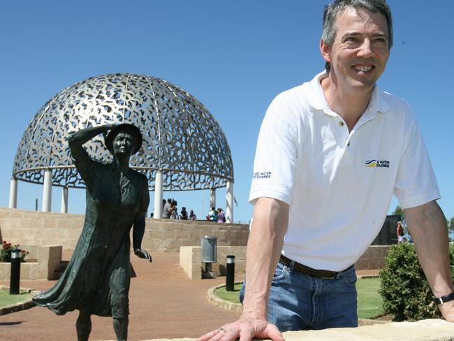David Mearns at the memorial to HMAS Sydney at Mount Scott in Geraldton, Western Australia.