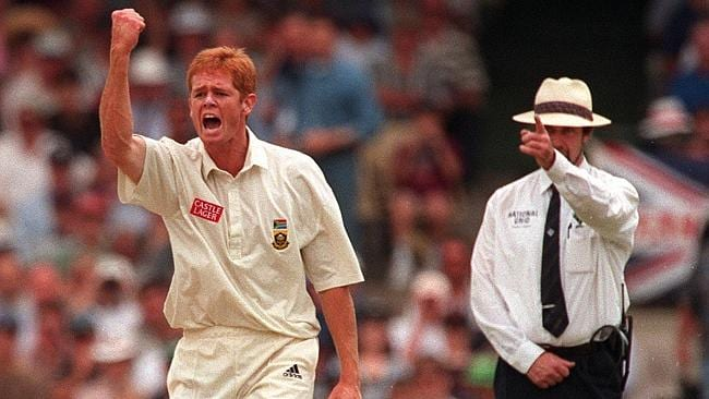 Shaun Pollock after taking the wicket of Mark Waugh during a Test at the SCG in 2008.
