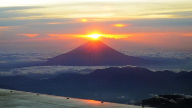 The rising sun on new year's behind from Mt. Fuji. Picture: AFP