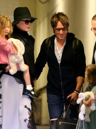 Nicole Kidman and Keith Urban with their girls. Picture: John Grainger