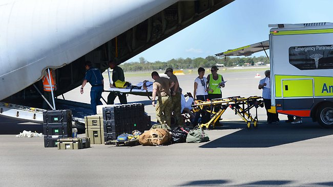 Bundaberg hospital patients are being airlifted out of the city by a Defence Foce C130. PIC: Paul Beutel