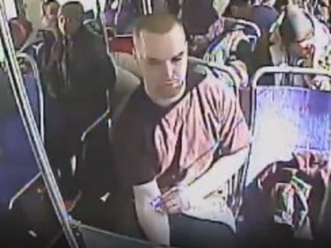 A man is filmed by surveillance cameras shooting up heroin on a public bus in the US. Picture: Twitter/Upper Darby Police