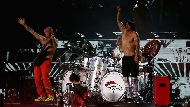 The Red Hot Chili Peppers perform during the Pepsi Super Bowl XLVIII Halftime Show at MetLife Stadium. Picture: Getty