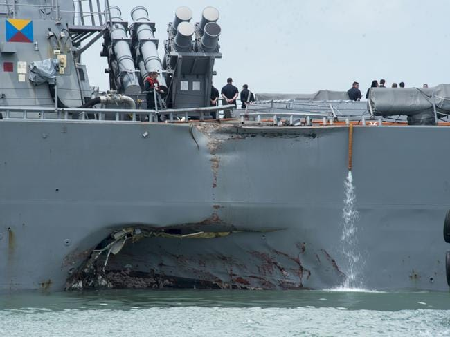 Damage to the portside of the USS John S. McCain. Picture: US Navy photo by Mass Communication Specialist 2nd Class Joshua Fulton/U.S. Navy via Getty Images