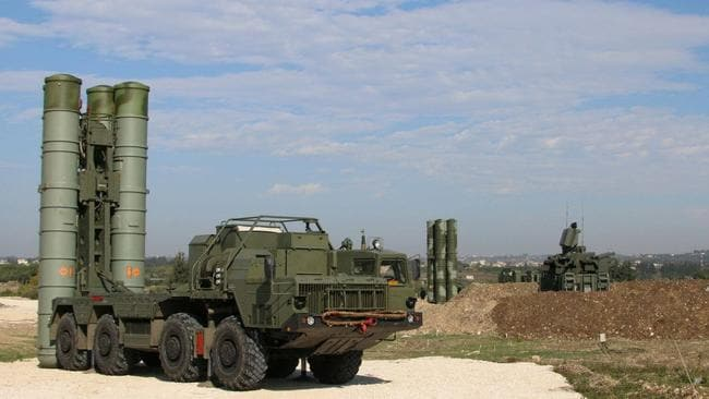 Defensive umbrella ... Russia's S-400 air defence missile systems at the Hmeimim air base in the Syrian province of Latakia.