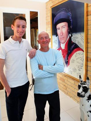 Mick Dittman and his son Luke at his father's home. Picture: Jono Searle