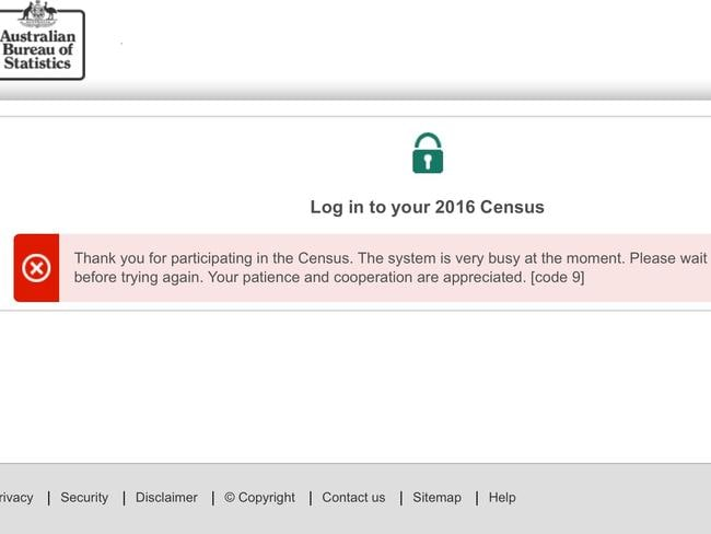 The Australian Government's census website shut down. Picture: AAP