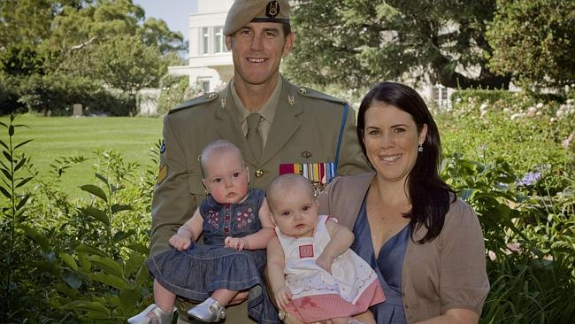 Benjamin Roberts-Smith with his wife Emma and their twins, Eve and Elizabeth. Picture: Lauren Black