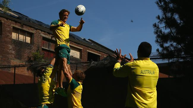 Con Foley of the Australia rugby sevens team catches a lineout ball.
