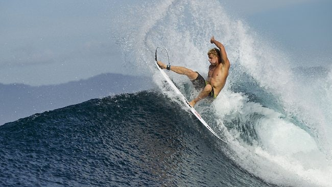 Australian surf champ Mick Fanning surfs in Sumbawa ,Indonesia in April.