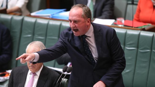 Deputy PM Barnaby Joyce in action during Question Time. Picture: Kym Smith