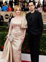 Mad Men star Christina Hendricks and Geoffrey Arend arriving at the 22nd Annual Screen Actors Guild Awards. Picture: Frazer Harrison/Getty Images