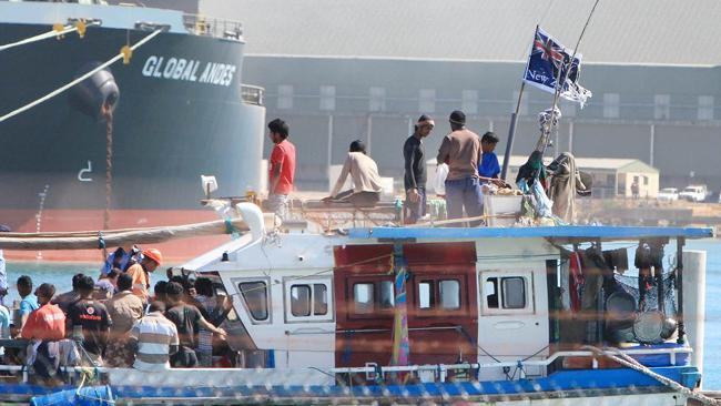 The New Zealand flag flies from the boat carrying Sri Lankan asylum seekers. Picture: Graeme Gibbons