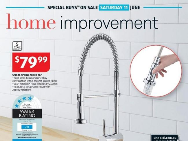 The Aldi tap found to have high levels of lead. Picture: Supplied