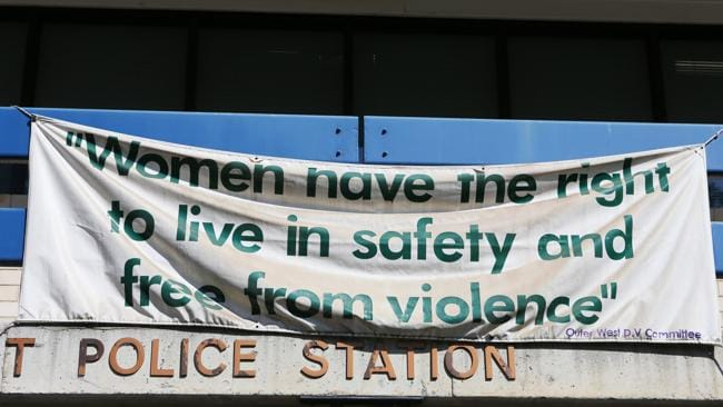 A sign hanging above the Domestic Violence Police Unit headquarters.