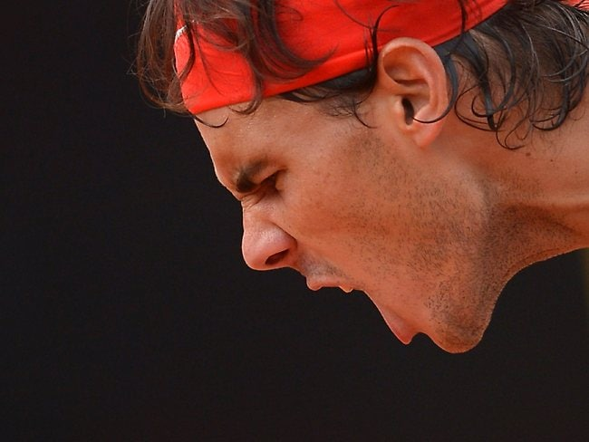 Rafael Nadal reacts after coming back in the second set.