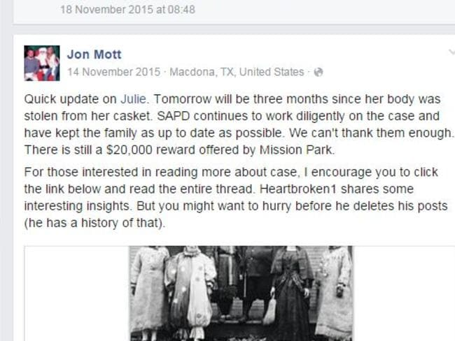 Julie's brother Jon Mott invites friends and family on Julie's Facebook memorial page to check out Heartbroken1's threads on the My Death Space thread on the theft of his sister's body