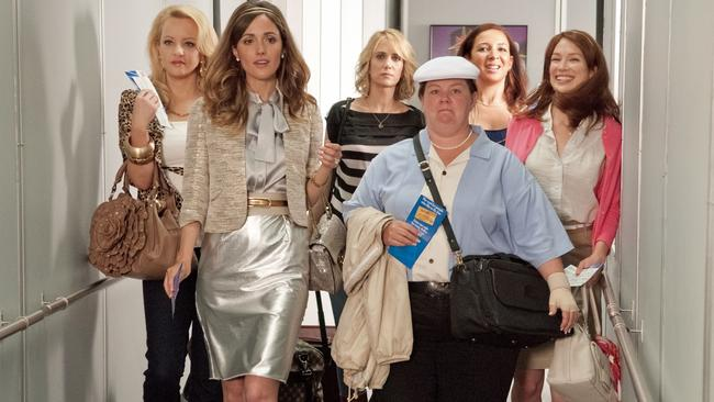 Wenid McLendon-Covey, Rose Byrne, Kristen Wiig, Melissa McCarthy, Maya Rudolph and Ellie Kemper in Bridesmaids.
