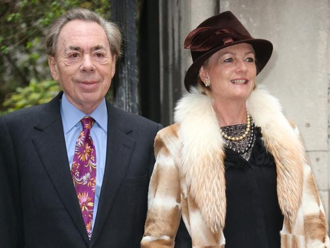 Andrew Lloyd Webber, left, and Madeleine Gurdon arrive at St Bride's Church. Picture: Joel Ryan/Invision/AP