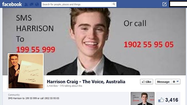 A Facebook page which claims to support Harrison Craig but promotes Danny Ross's phone number.