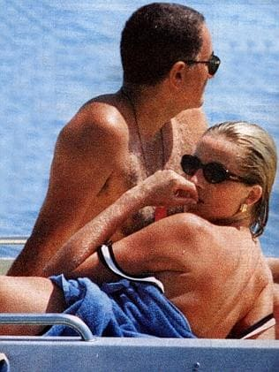 Diana with boyfriend Dodi Al Fayed while on holiday in the French Riviera in Aug. 1997.