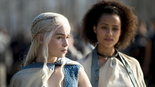 "Dany giving someone her best ""you know I have dragons, right?"" look. (Game of Thrones Season 4 is coming April 7..."