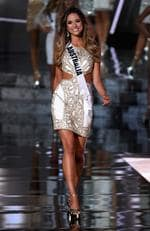 Miss Australia 2015, Monika Radulovic, walks onstage during the 2015 Miss Universe Pageant on December 20, 2015 in Las Vegas. Picture: Getty