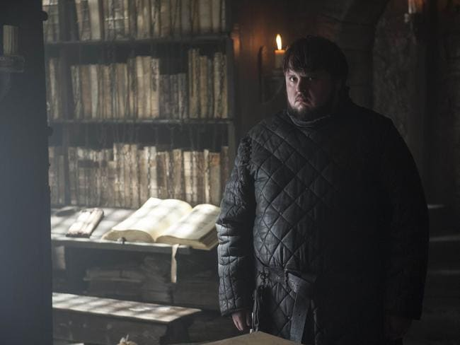 Sam is most at home among his books. Picture: Foxtel.