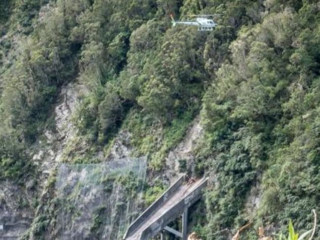 It was difficult to retrieve the man from his tricky position. Picture: NZCC Rescue Helicopter