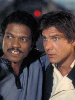 Billy Dee Williams as Lando Calrissian and Harrison Ford as Han Solo.