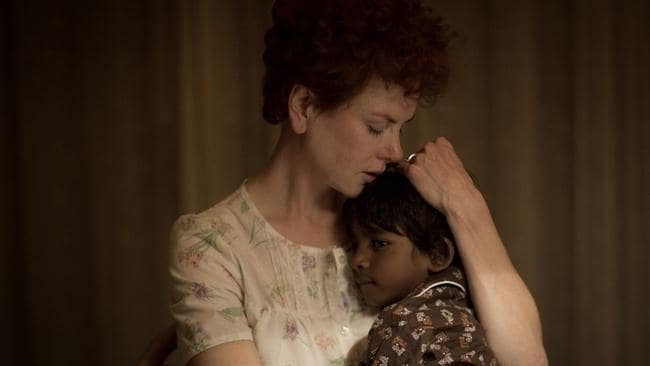 Nicole Kidman and Sunny Pawar in Lion, based on Saroo Brierley's A Long Way Home. Picture: AP.