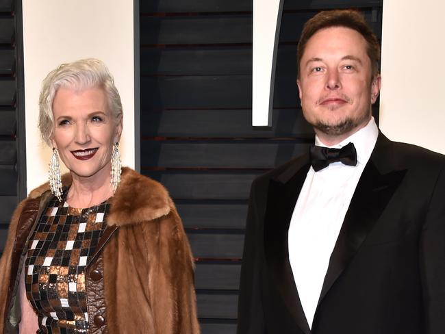 Maye Musk, left, with Elon Musk attend the 2017 Vanity Fair Oscar Party. Picture: Pascal Le Segretain/Getty Images