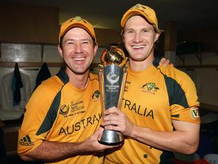 CENTURION, SOUTH AFRICA - OCTOBER 05: Ricky Ponting (L) and Shane Watson of Australia celebrate in the changing rooms with the trophy after the ICC Champions Trophy Final between Australia and New Zealand played at Supersport Park on October 5, 2009 in Centurion, South Africa. (Photo by Hamish Blair/Getty Images)