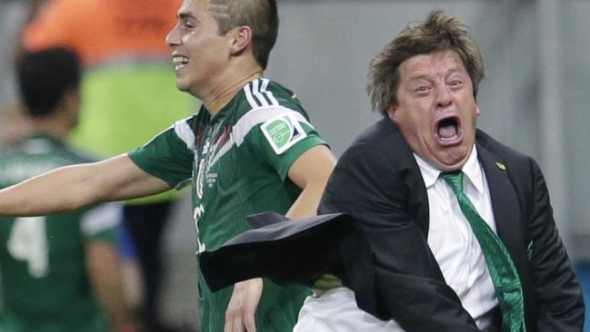 Mexico's head coach Miguel Herrera knows how to enjoy himself at the football.