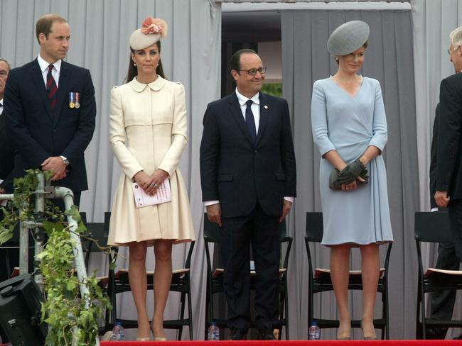 World leaders ... from left, Prince William, his wife Catherine, Duchess of Cambridge, French President Francois Hollande, Belgium's Queen Mathilde and Belgium's King Philippe at the ceremony in Liege. Picture: Virginia Mayo