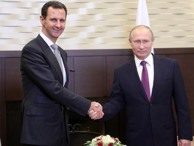 Western nations have criticised Russian president Vladimir Putin for defending President Assad and denying a chemical attack by his forces took place. Picture: AFP