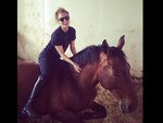 "American actress Kaley Cuoco has a big theory about her four-legged friend's state of mind: ""And now it nap time!"" Picture: Instagram"