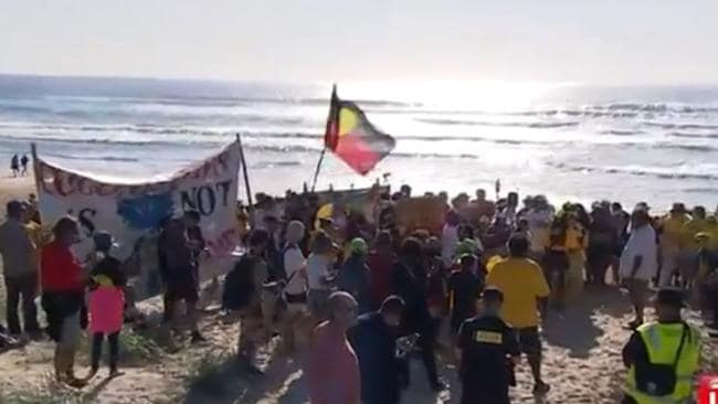 Protesters storm Sunrise set on the Gold Coast. Picture: Channel 7