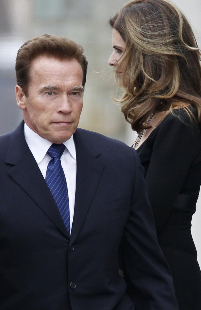 Maria Shriver, right, and Arnold Schwarzenegger.