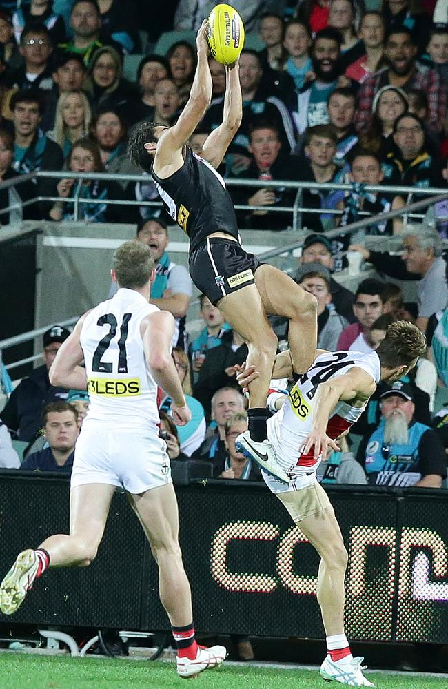Chad Wingard takes a towering mark on the weekend. Picture: Sarah Reed