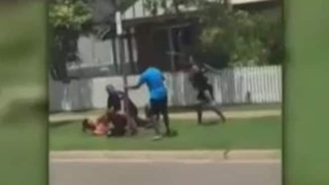 Police officers managed to restrain the women who were later arrested and charged. Picture: 7 News
