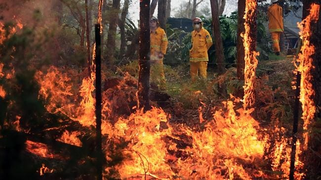 """""""We are increasingly putting ourselves in harm's way"""" ... Bushfires raged in the Blue Mountains, west of Sydney, last October. Picture: Alex Coppel."""