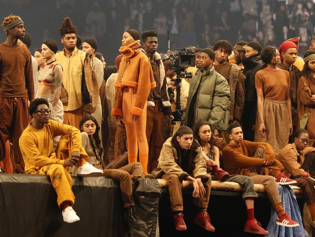 Models sporting clothes from the Yeezy collection. Picture: AP