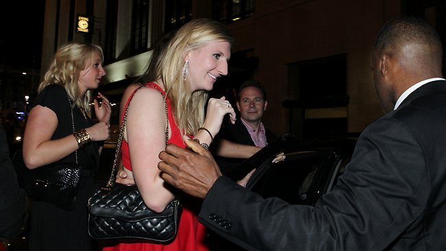 Gold medal-winning Rebecca Adlington leaves after a night of partying. Picture: Britta Campion
